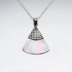 Triangle Mother Of Pearl Pendant With Dotted Silver Cap