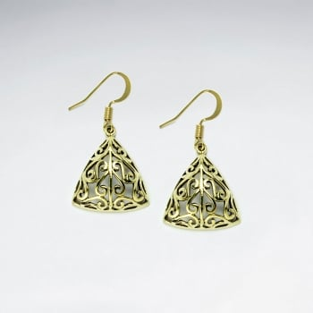 Triangle Puffed Filigree Brass Dangle Earrings