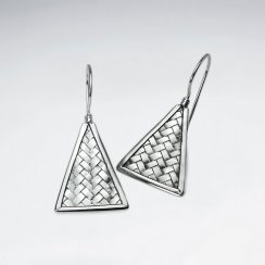 Triangle Silver Cobblestone Textured Drop Hook Earrings