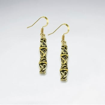 Tribal Brass Textured Artwork Dangle Earrings