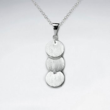 Triple Brushed Silver Disc Charm Drop Pendant