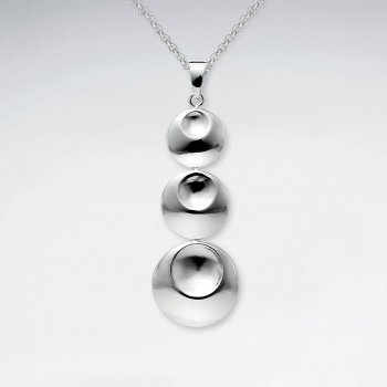 Triple Dimpled Connected Circles Silver Pendant