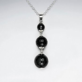 Triple Faceted Black Stone SilverPendant