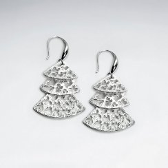 Triple Fan Tiered Filigree Dangle Drop Earrings in Silver
