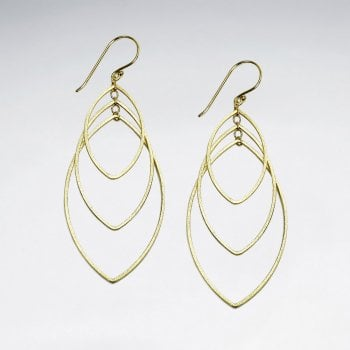Triple Gradual Openwork Marquis Silhouette Sterling Silver Hook Earrings