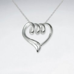 Triple Loop Open Heart Silver Pendant