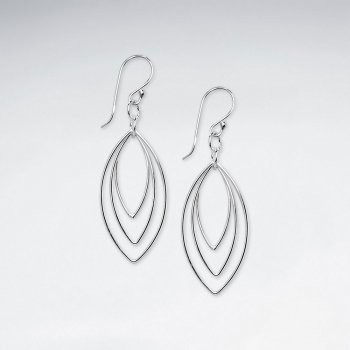 Triple Marquise Silver Earring