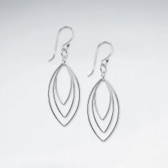 Triple Marquise Silver Earring
