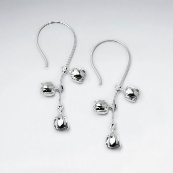 Triple Open Blossom Sterling Silver Long Drop Hook Earrings