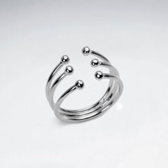 Triple Stack Open Style Ball Stud Silver Ring