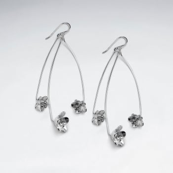 Triple Sterling Silver Blossoms Dangle Earrings