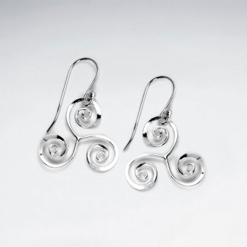 Triple Swirl Triangle Dangle Earrings in Sterling Silver
