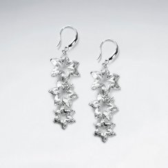 Triple Tiered Hawaiian Blossom Silver Drop Earrings
