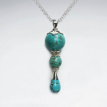 Triple Turquoise Dangling Silver Pendant