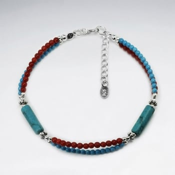 Turqouise & Coral Double Strand Accent Bead Bracelet