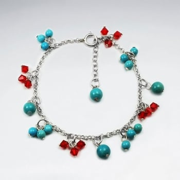 Turquoise & Crystal Dangle Charm Sterling Silver Bead Bracelet