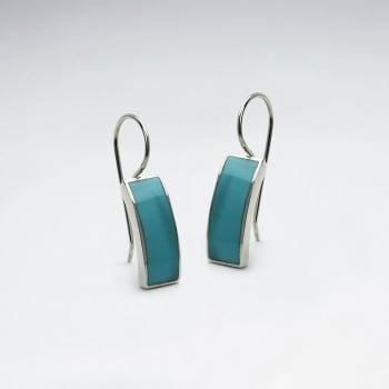 Turquoise Curved Silver Rectangle Earrings