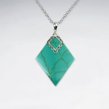 Turquoise Decorated Marquis Pendant