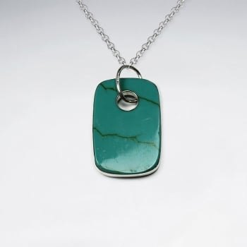 Turquoise Dog Tag Inspired Style Charm