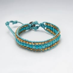 Turquoise & Leather Bead Bracelet