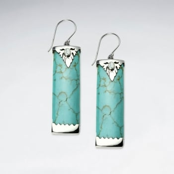 Turquoise Long Rectangle Silverwork Styled Earrings