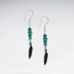 Turquoise Nugget Dangling Earring With Oxidized Silver Feather