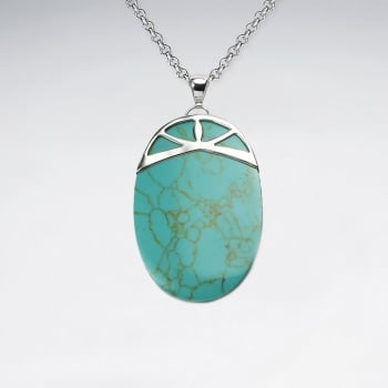 Turquoise Oval Silver Fanned Pendant