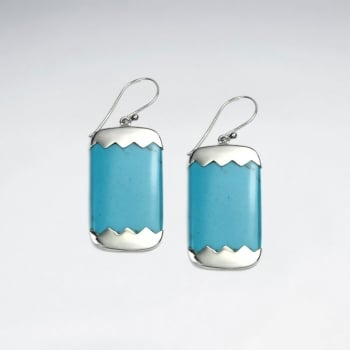 Turquoise Rectangle Sterling Silver Earrings