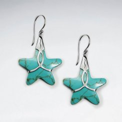 Turquoise Star Dangling Silver Earring