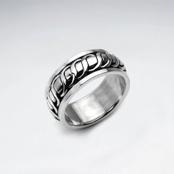 Twist Style Textured Silver Band Ring