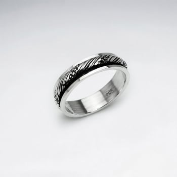 Twist Textured Oxidized Silver Ring