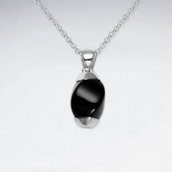 Twisted Black Stone Silver Pendant