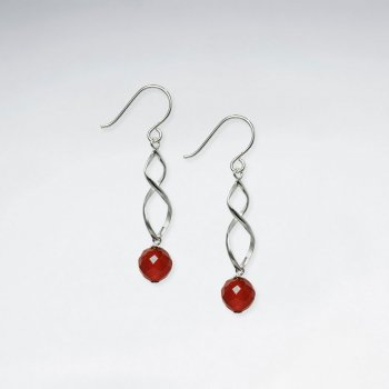 Twisted Silver Earring With Dangling Carnelian