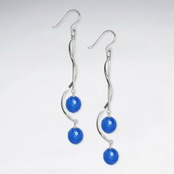 Twisted Silver Earring With Double Faceted Blue Agate