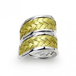 Two-Tone Basket Weave Wrap Ring