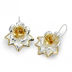 Two-Tone Dainty Organic Flower Blossom Earrings in Sterling Silver