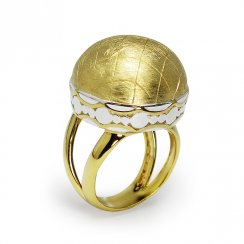 Two-Tone Domed Top Sterling Silver Statement Ring