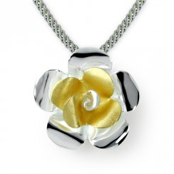 Two-Tone Floral Splendor Five Petal Pendant