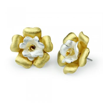 Two-Tone Floral Stud Earrings