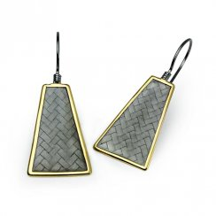 Two-Tone Geometric Basket Weave Style Earrings