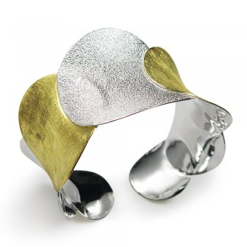 Two-Tone High Fashion Circles Link Bangle