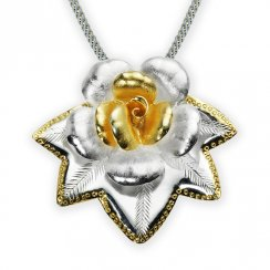 Two-Tone Sterling Silver Flourishing Flower Pendant