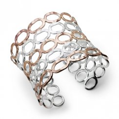 Two-Tone Sterling Silver 'Genie Cuff' Bangle