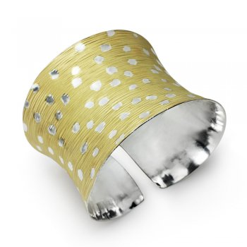 Two-Tone Sterling Silver Wide Bangle