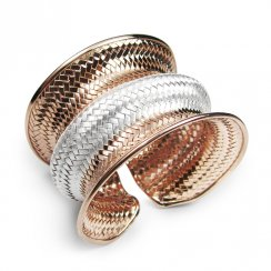 Two-Tone Sterling Wave Cuff Bangle