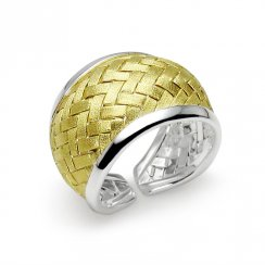 Two-Tone Timeless Beauty Sterling Silver Basket Weave Ring