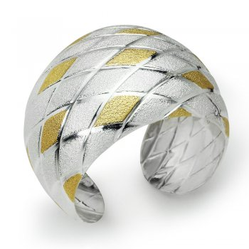Two-Tone Winsome Crisscross Sterling Silver Bangle