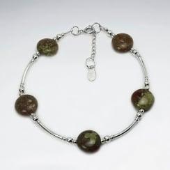 Unakite Spaced Beads Sterling Silver Bracelet