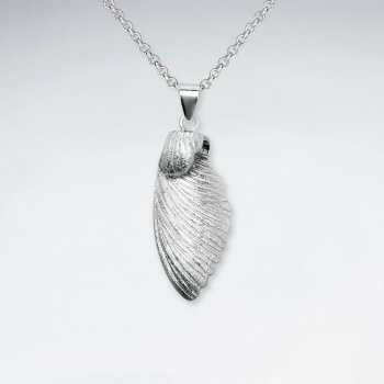 Upturned Angel Wings Polished Silver Pendant