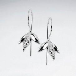 Upturned Blossom Polished Silver Dangle Earrings